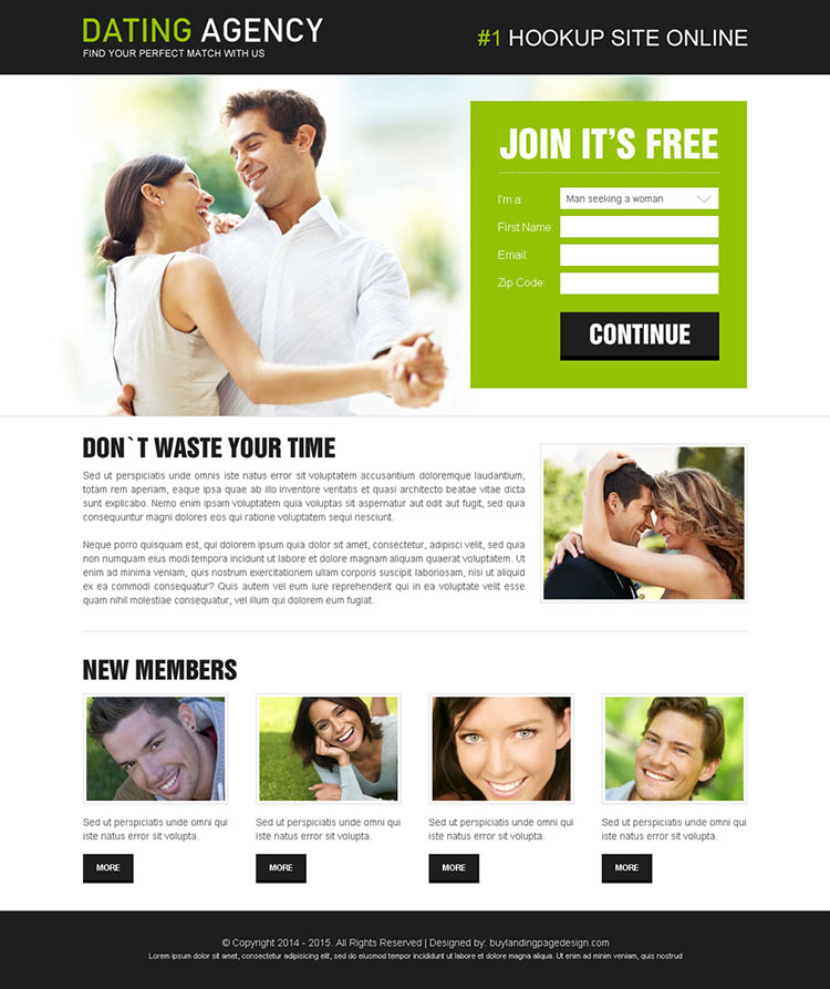 dating agency clean and attractive lead capture landing page to boost your conversion rate by double