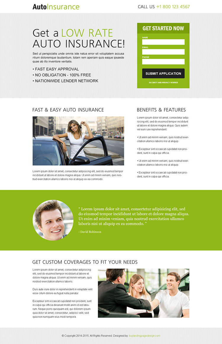 clean and minimal auto insurance converting lander design