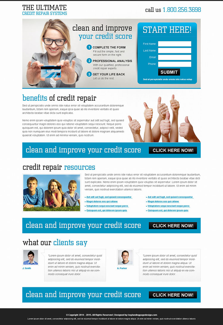 improve your credit score very effective small lead capture clean landing page design