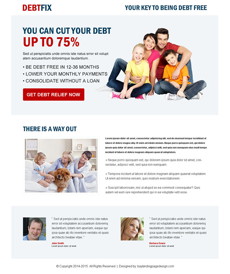 clean debt business converting responsive landing page design