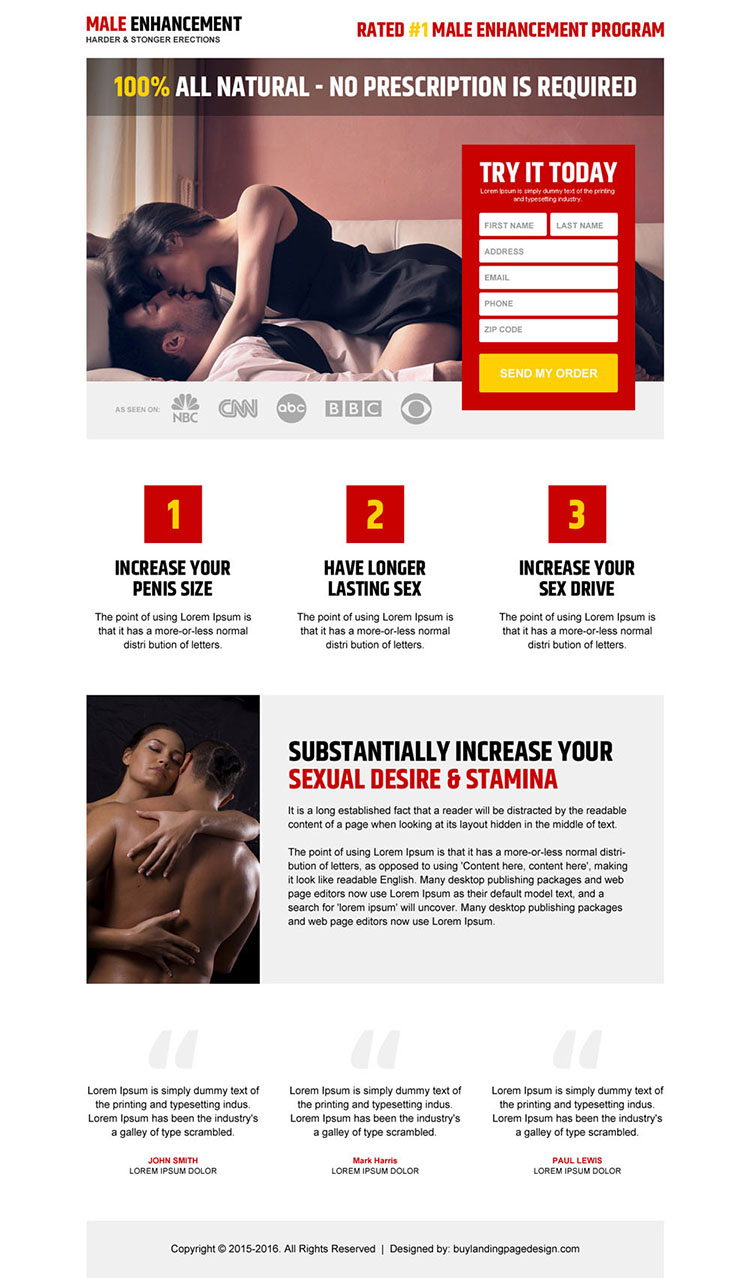 clean and appealing male enhancement product free trial landing page design