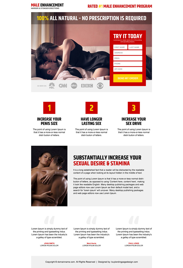 responsive and appealing male enhancement product landing page