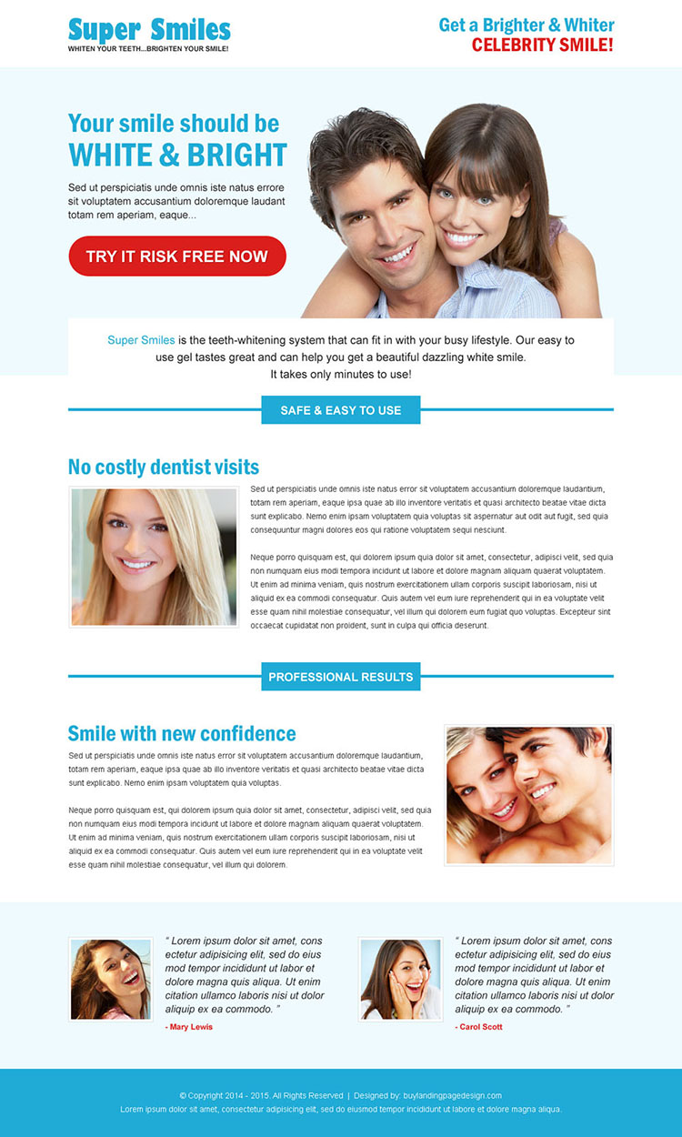 super smiles white and bright risk free trial call to action clean landing page