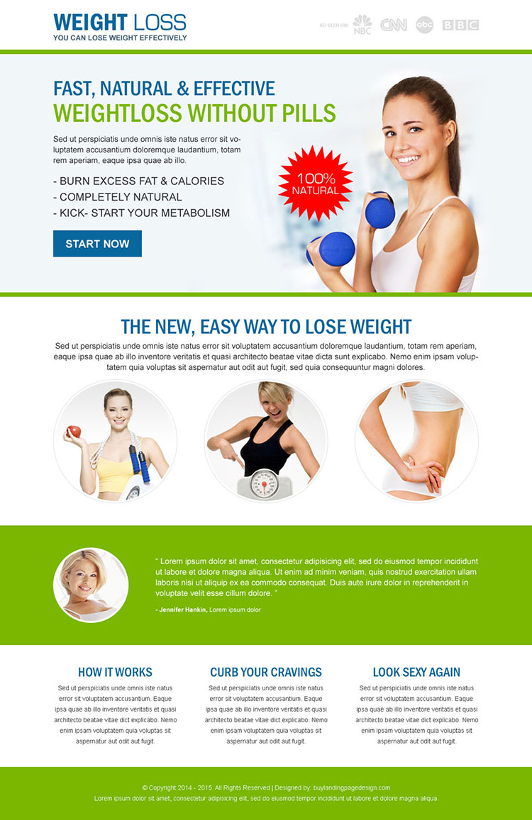 weight loss without pills responsive landing page design