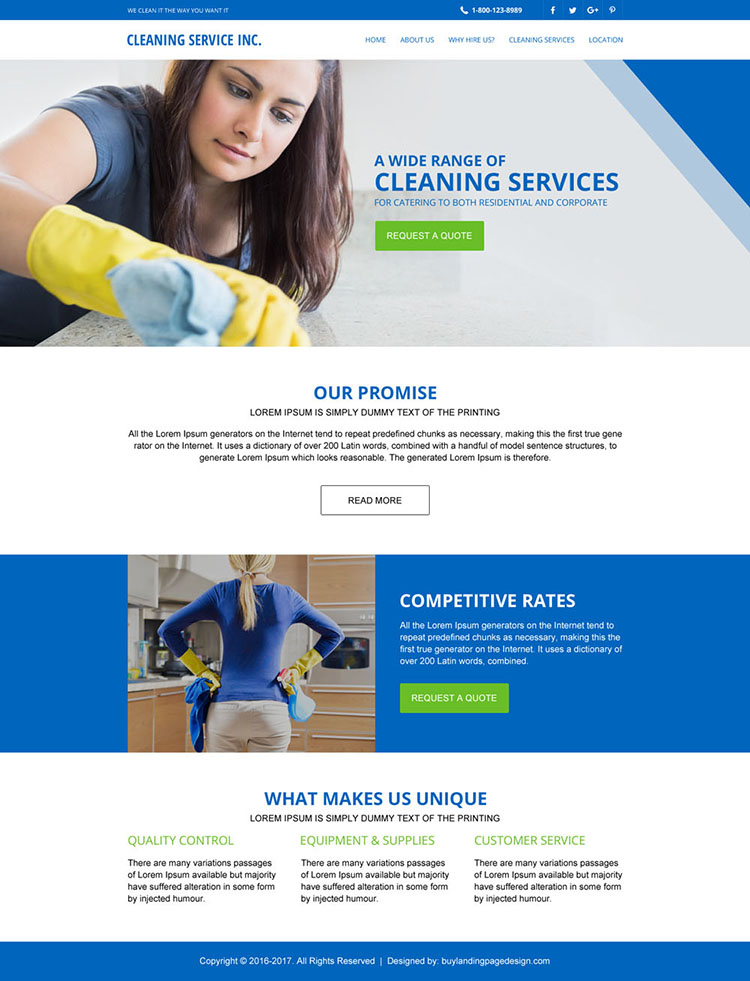 cleaning services responsive website template design