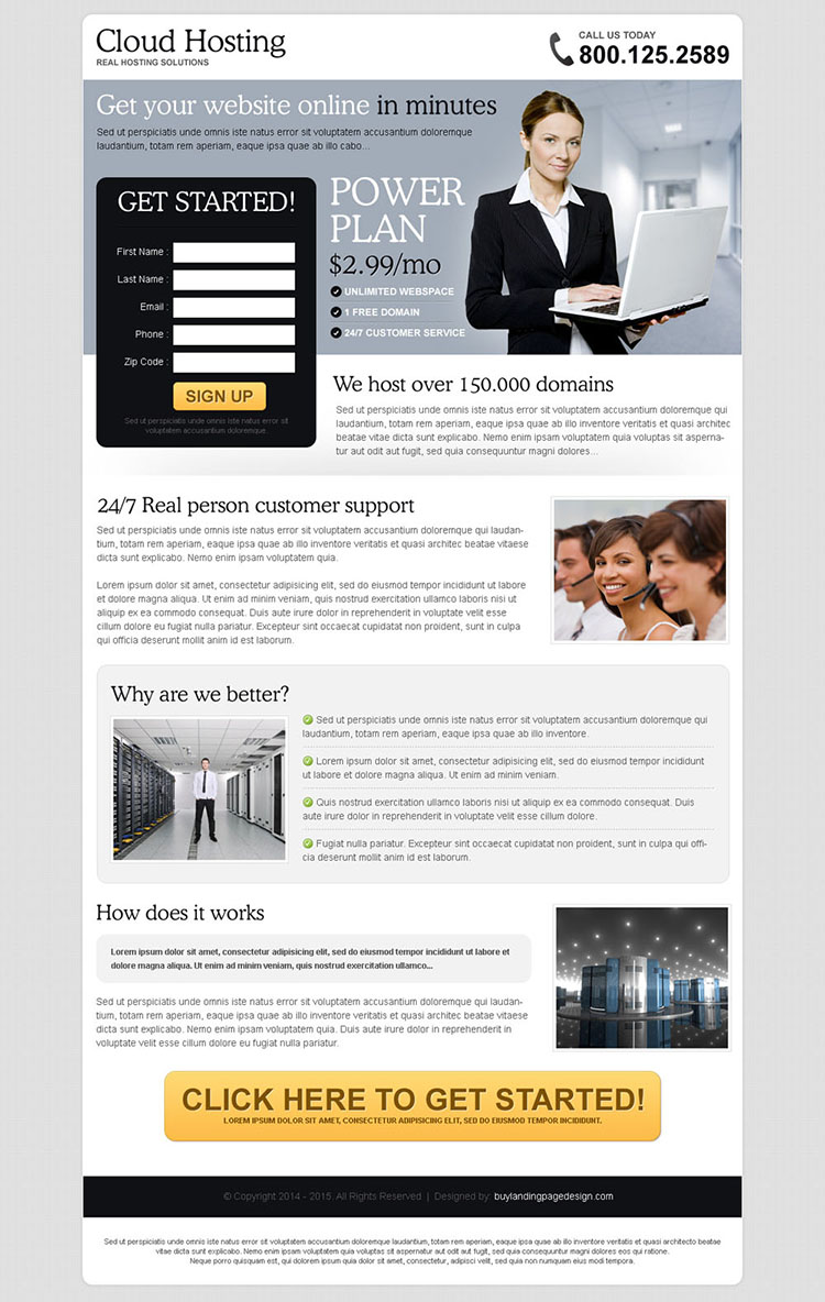 clean effective and converting lead capture landing page design for web hosting company