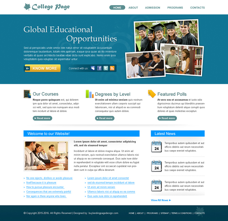 Collage Education Template Psd Sale 13 Website Template