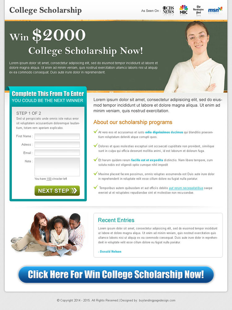collage scholarship effective lead capture landing page design for sale