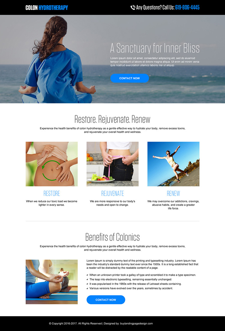 colon hydrotherapy minimal landing page design
