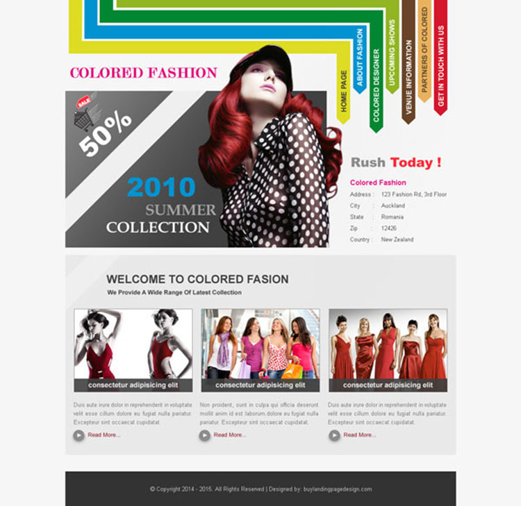 colored fashion clean and converting website template psd design