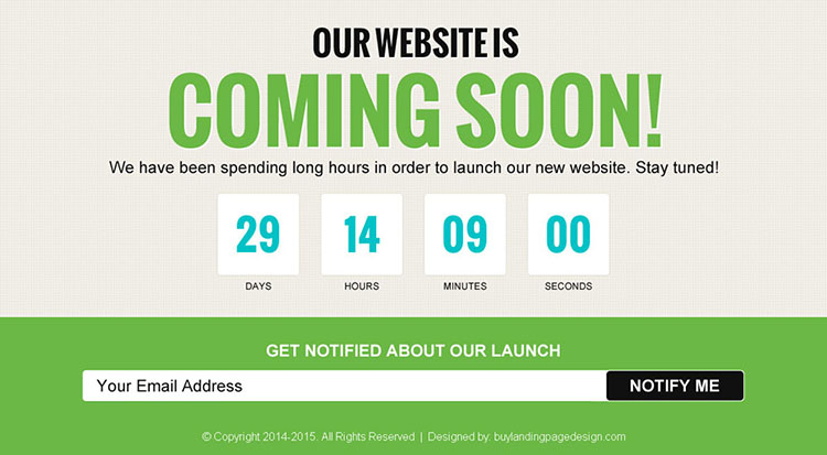 beautiful coming soon page for your upcoming website