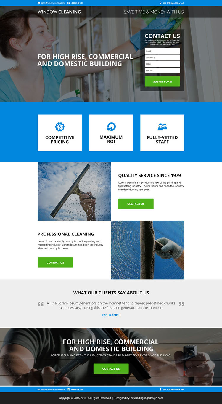 commercial and domestic cleaning services landing page design