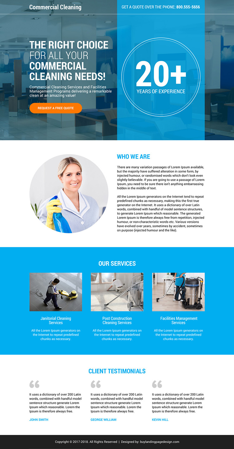 commercial cleaning service responsive landing page design
