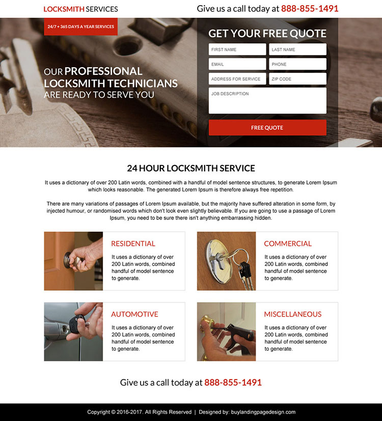 commercial locksmith service lead capturing landing page