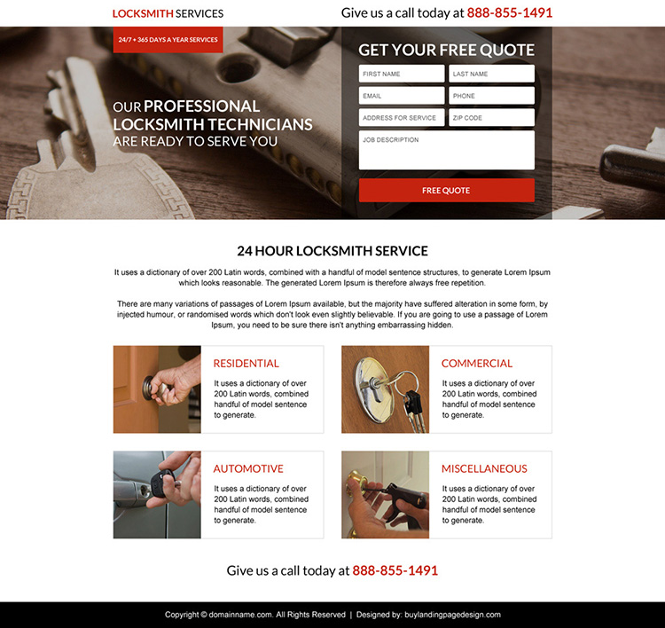 commercial locksmith service lead capturing responsive landing page