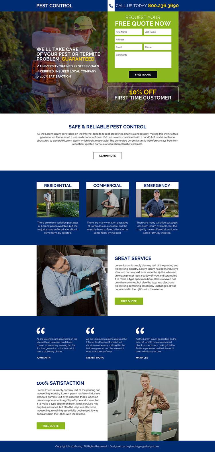 commercial pest control service lead gen landing page