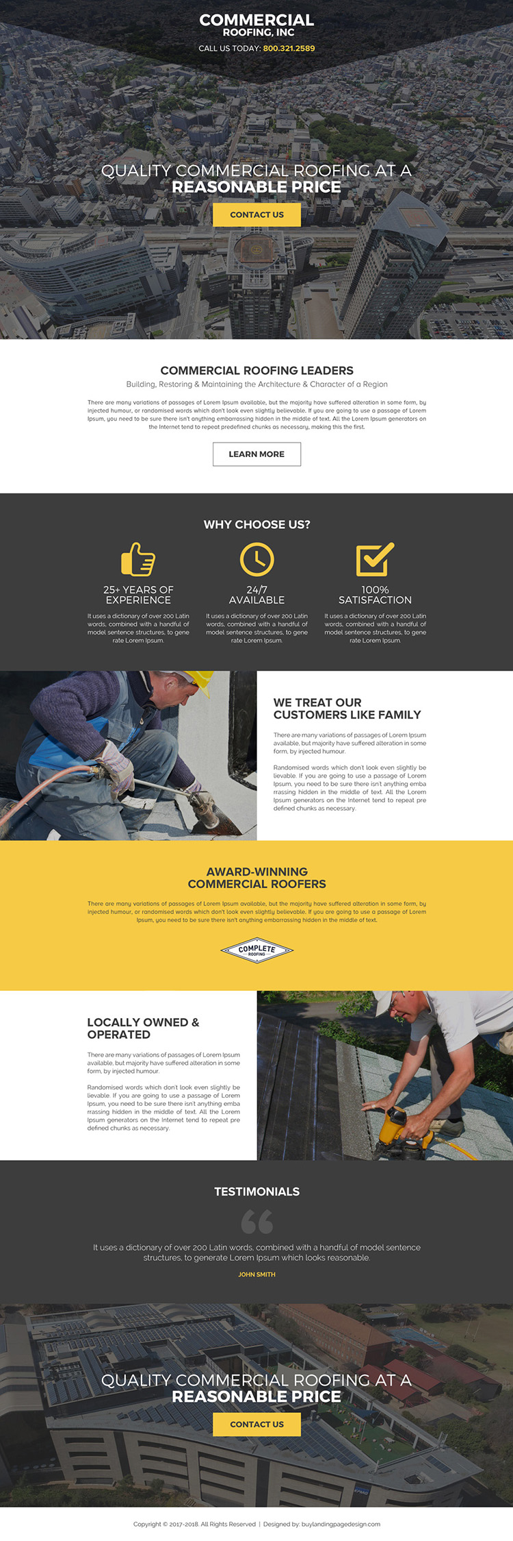 commercial roofing call to action landing page design