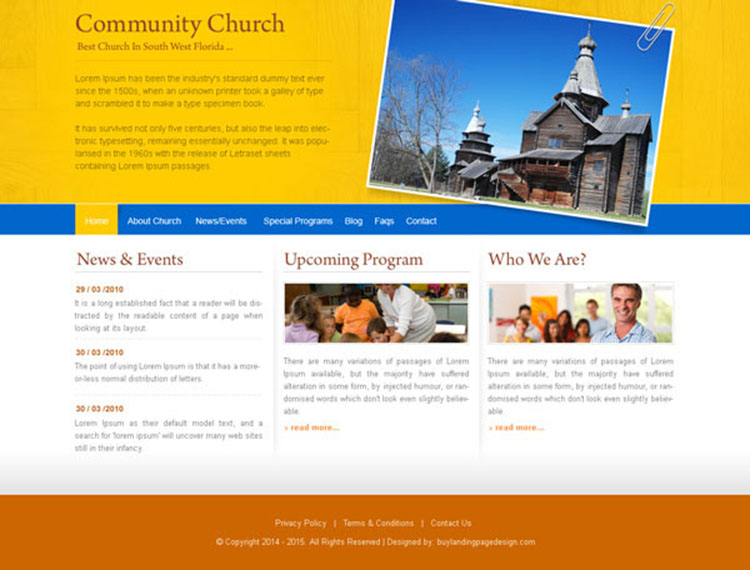 community church attractive and appealing website template design psd to create your church website