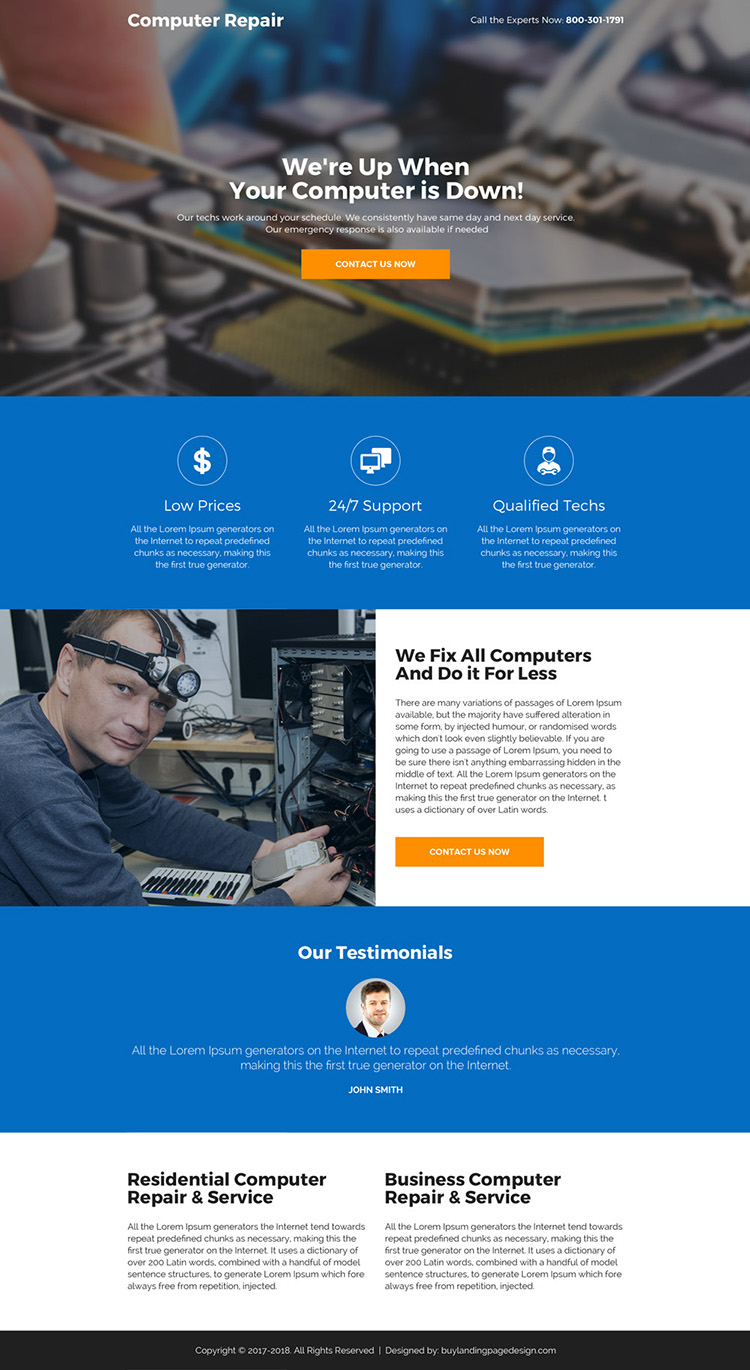 computer repair service professional landing page design