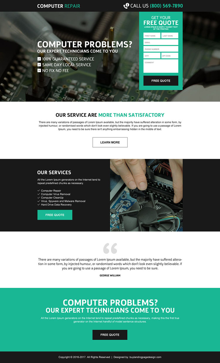 computer repair service effective free quote lead gen responsive landing page