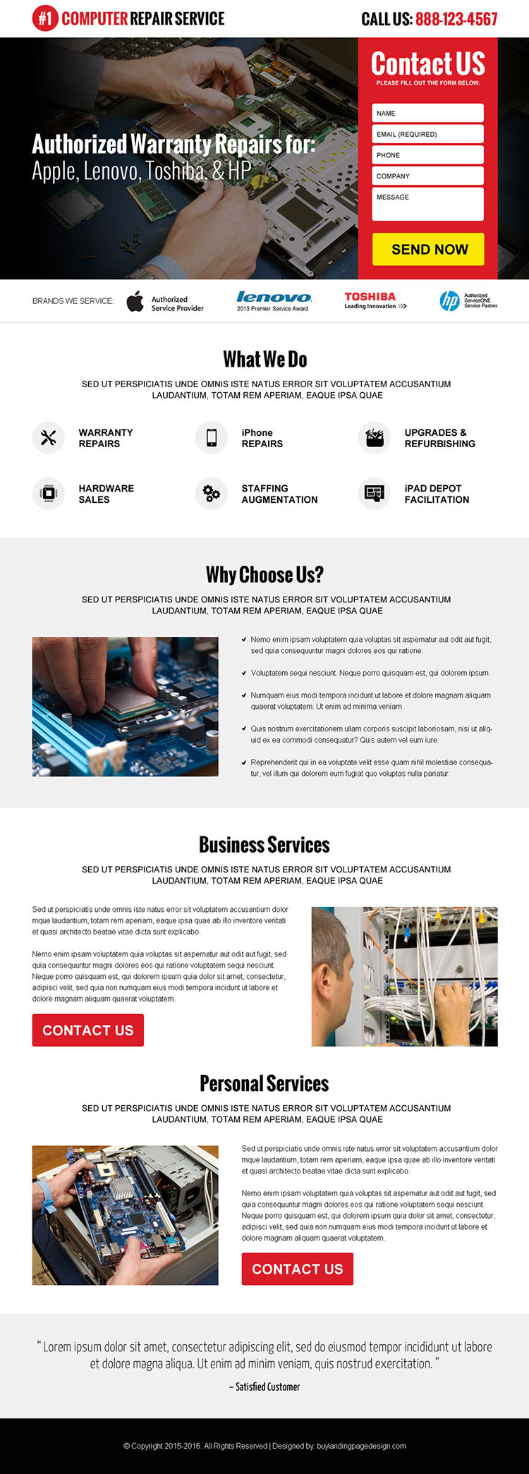 computer repair service lead generating landing page design