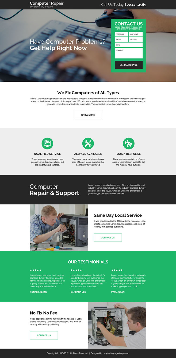 computer repair service responsive landing page design