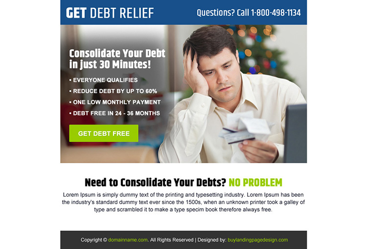consolidate your debt ppv landing page design