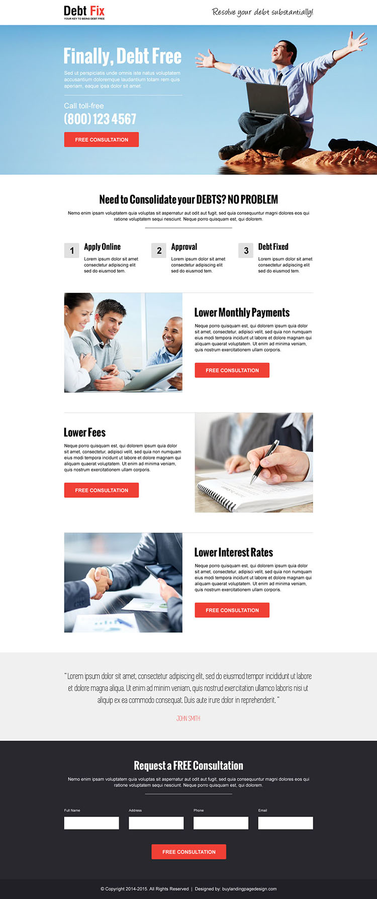 consolidate your debts call to action professional landing page design