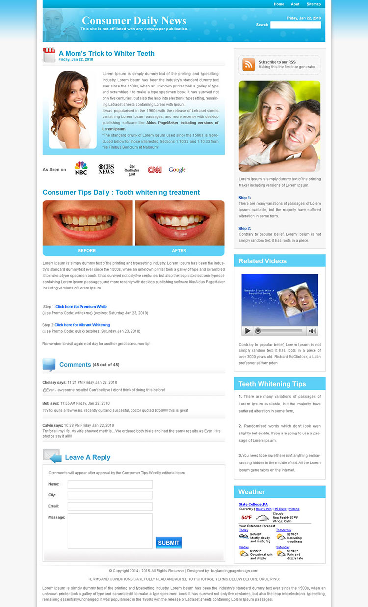 teeth whitening daily news landing page design template