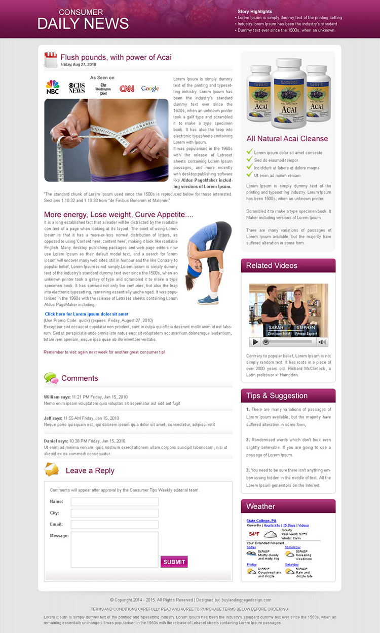 weight loss consumer daily news flog to maximize your conversion