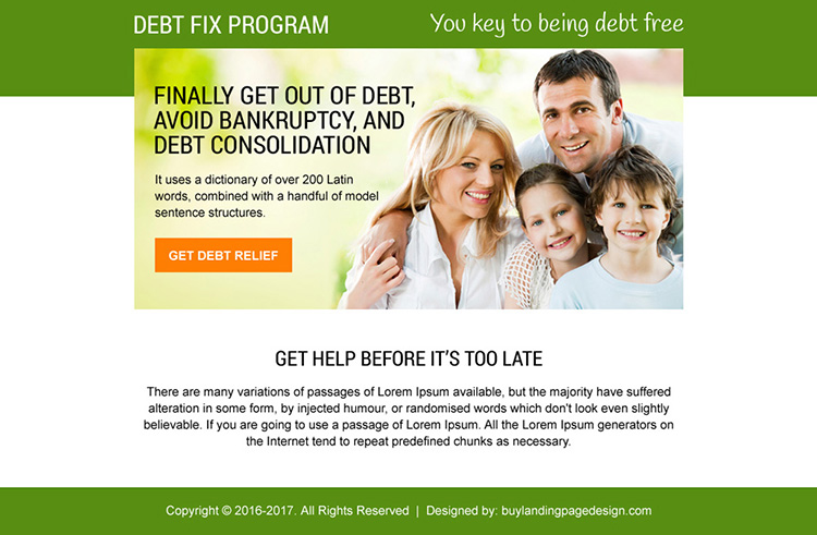 debt fix program ppv landing page design