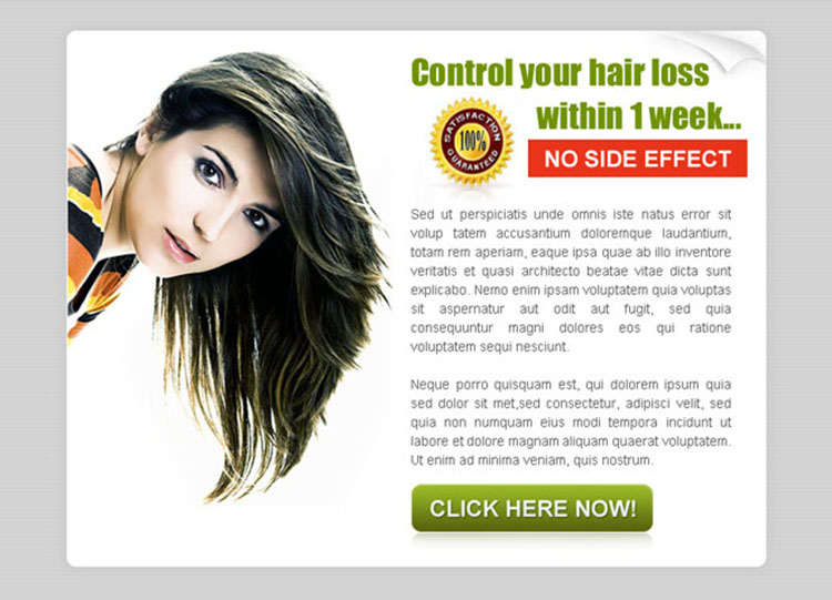 control your hair loss within 1 week converting ppv landing page design