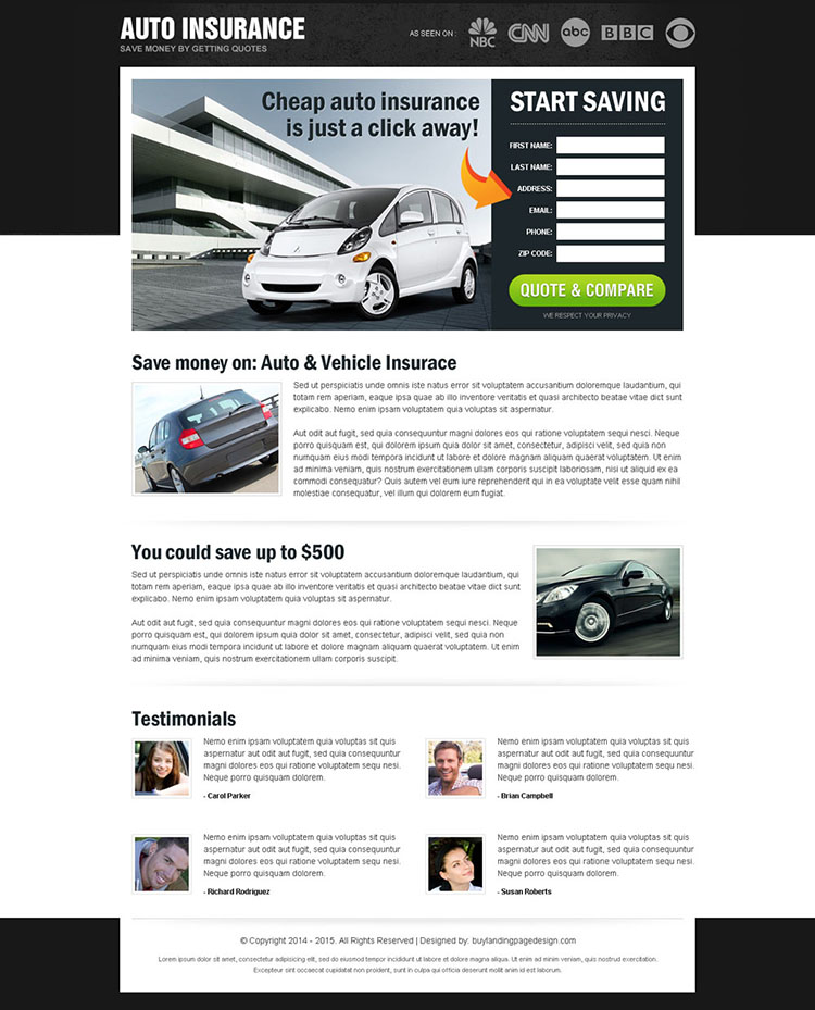 save money on auto insurance most converting and appealing html landing page design