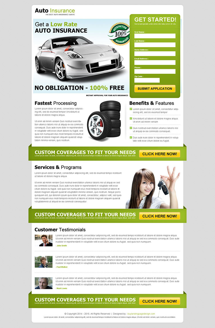 get a low rate auto insurance effective and attractive lead capture squeeze page design