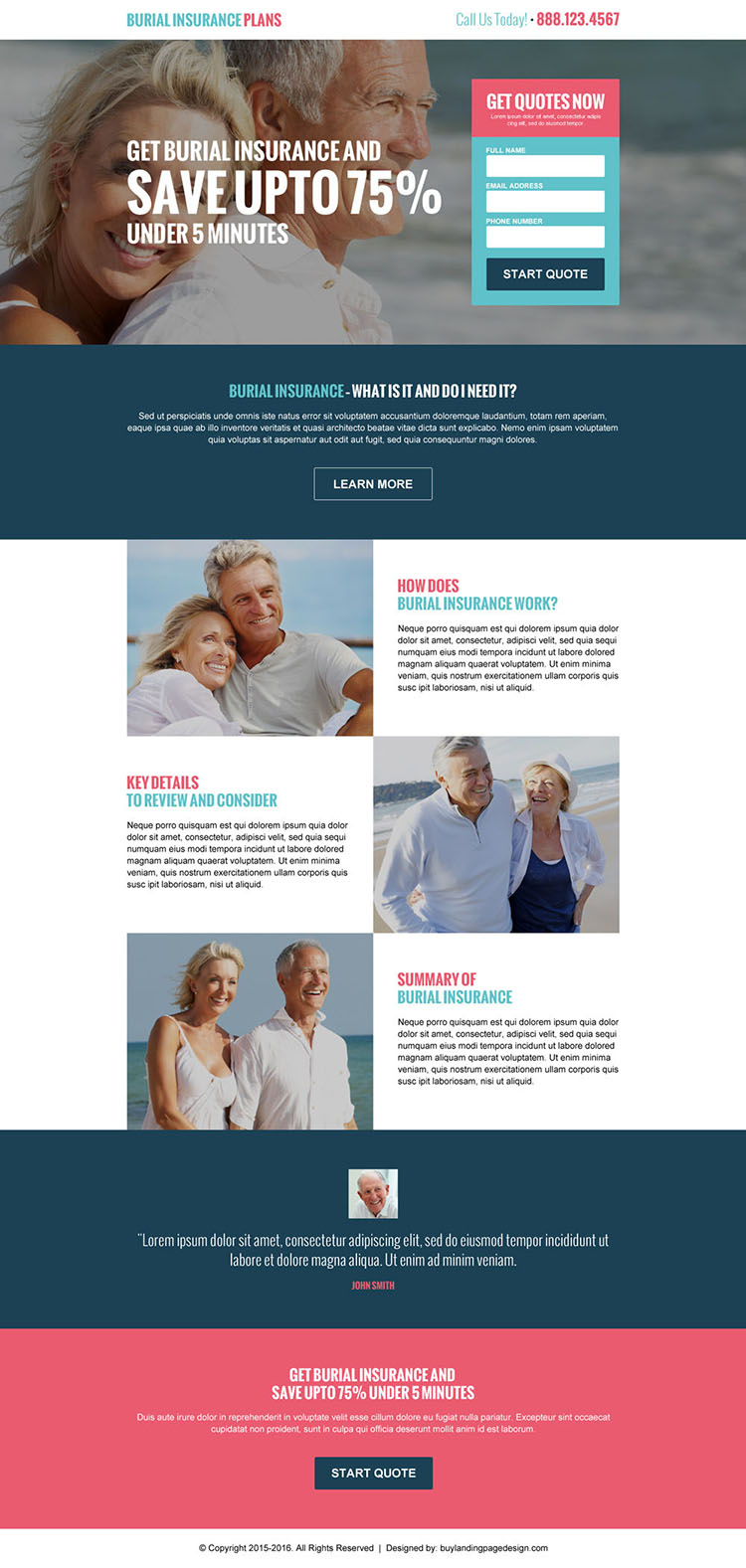 converting burial insurance plans landing page design