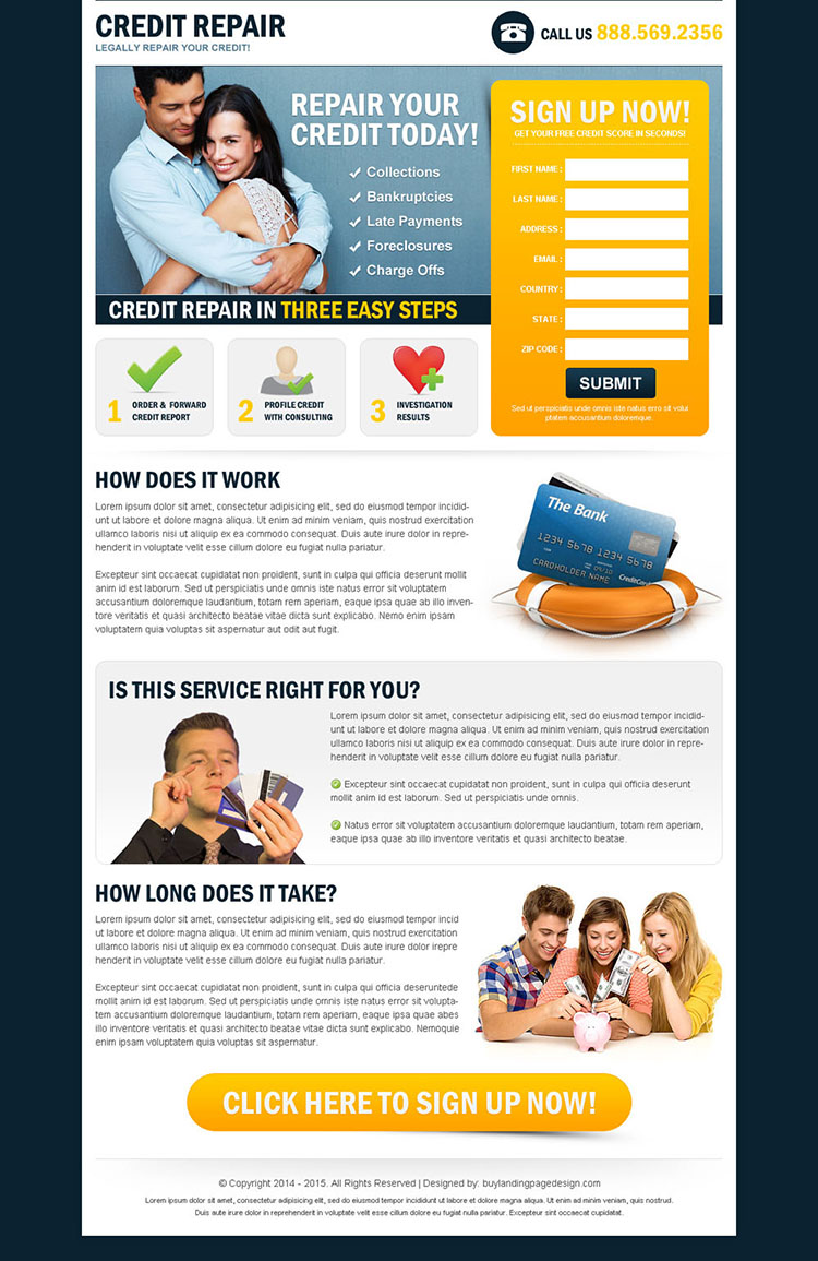 repair your credit today in 3 easy steps small lead gen squeeze page design
