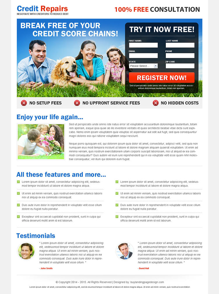 break free your credit score chains 2 column responsive landing page design