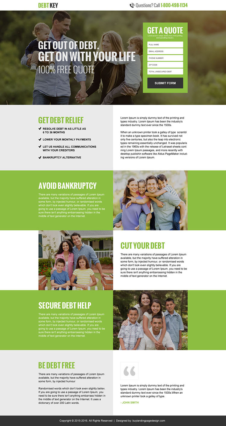 debt relief free quote landing page design