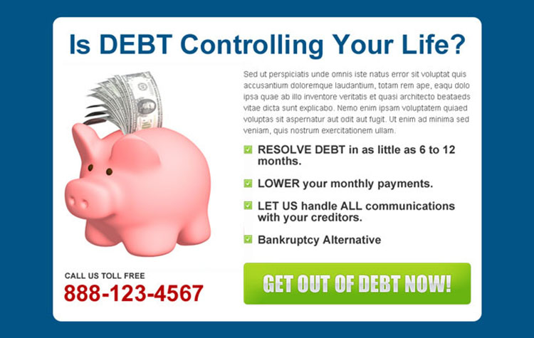 control and remove your debt easily user friendly ppv landing page design template