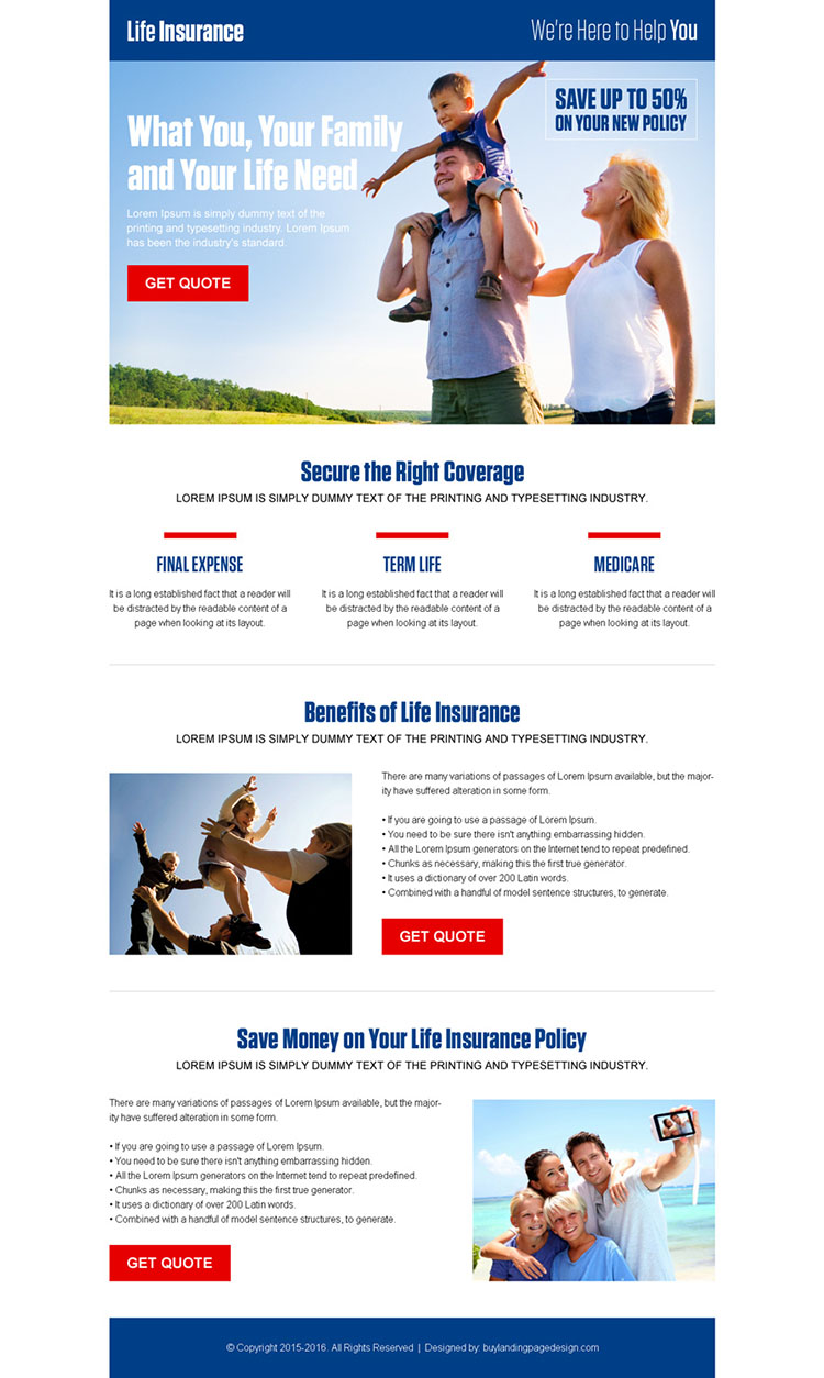 converting life insurance responsive landing page design template
