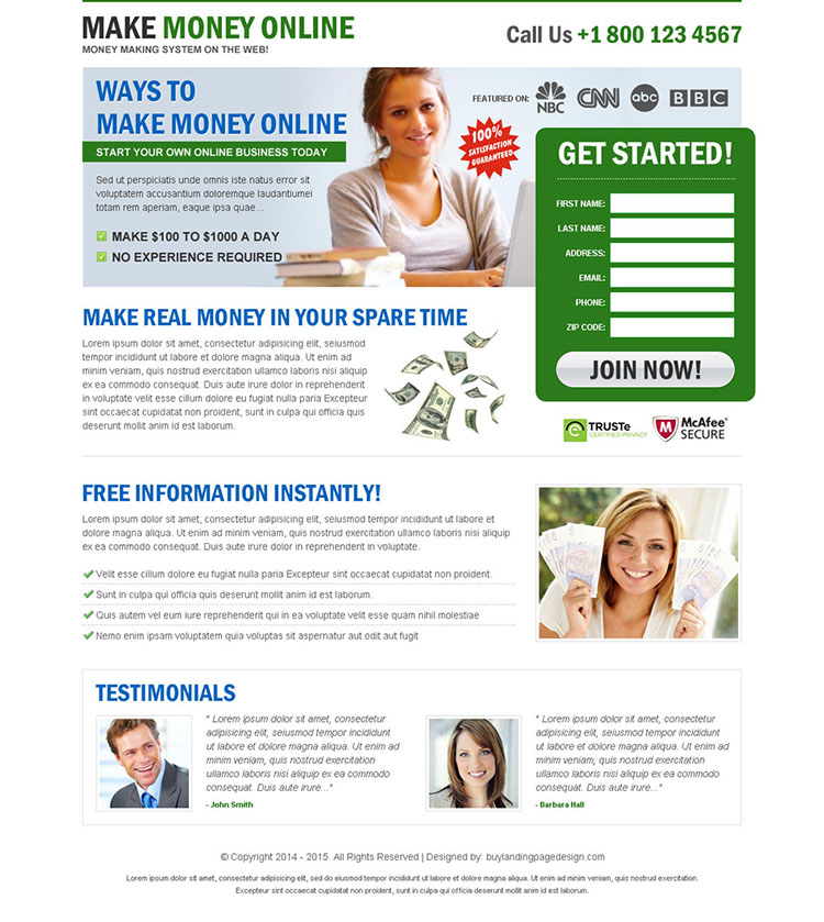easy ways to make money online clean and minimal landing page design template