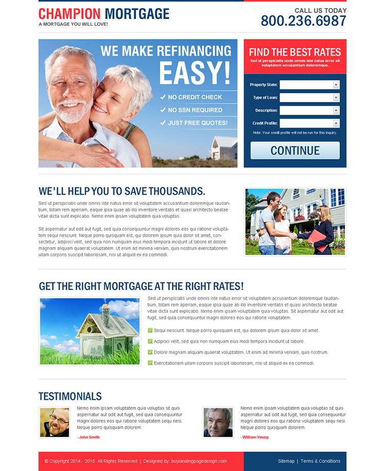 champion refinance mortgage creative lead capture lander design