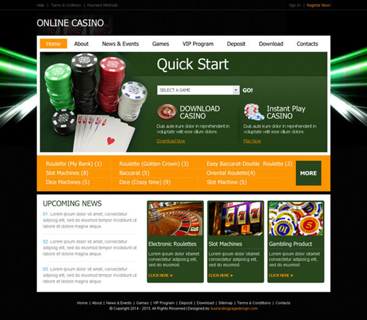 converting instant play online casino website template design psd for creating your website