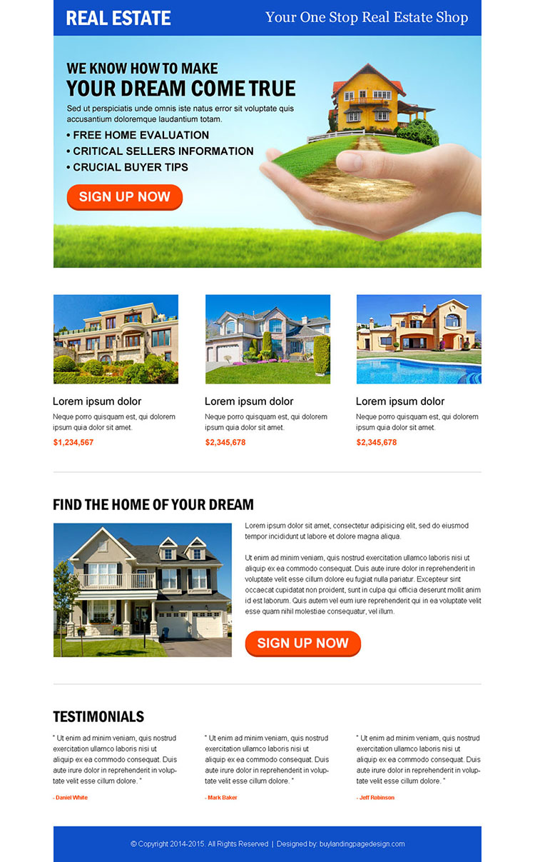 attractive and converting real estate call to action landing page design template