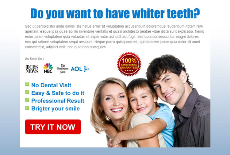 teeth whitening clean and attractive call to action ppv landing page design