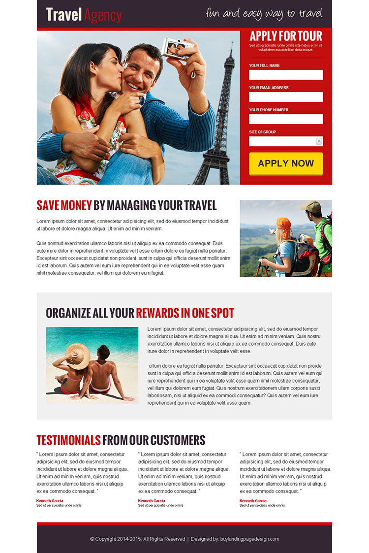 converting travel lead generation landing page design templates for your travel agency
