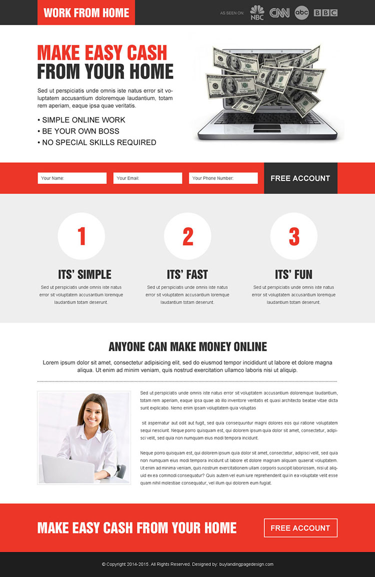 converting work from home responsive lead capture landing page design to increase conversion and response rate