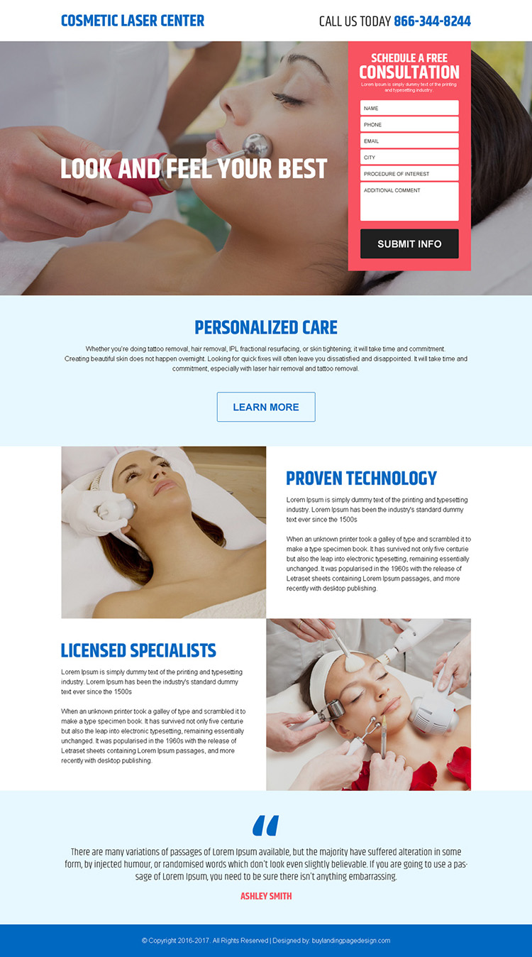 cosmetic laser surgery center responsive landing page design