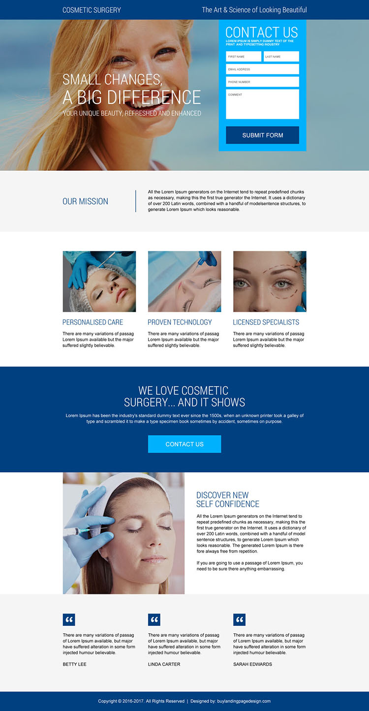 cosmetic plastic surgery clinic leads gen landing page