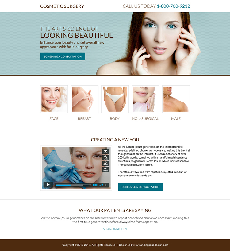 cosmetic surgery mini landing page design